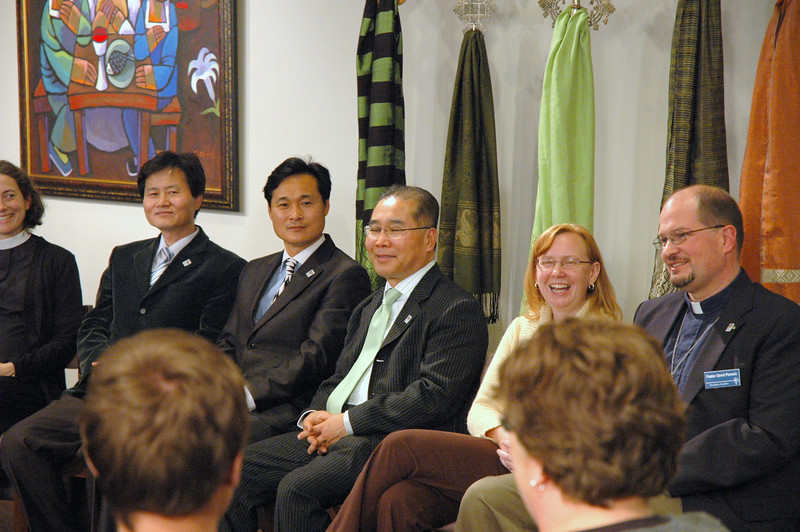 The Chicago Lutheran Center audience during the November 21, 2010 ELCA Online Town Hall Forum with Presiding Bishop Mark S. Hanson, waiting for the Webcast to begin.