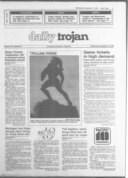 Daily Trojan, Vol. 107, No. 67, December 14, 1988