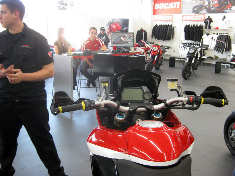 www.asphaltandrubber.com We were lucky enough today to get some shots from an Asphalt & Rubber reader who was in attendance at the Newport Beach Ducati shop to check out the Pikes Peak Ducati Multistrada 1200S race bike. mts1200.info article HERE