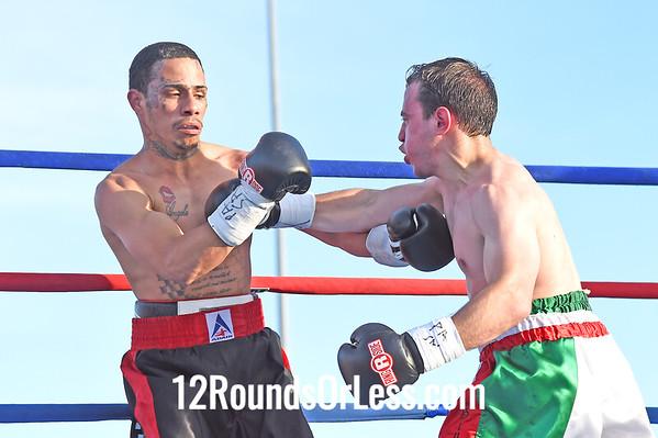 Bout 2 Jesus Gonzales, Black & red trunhks, Bethlehem, PA -vs- Antonio Congliaro, Red, white & green trunhks, St. Clair, PA  Bantamweight