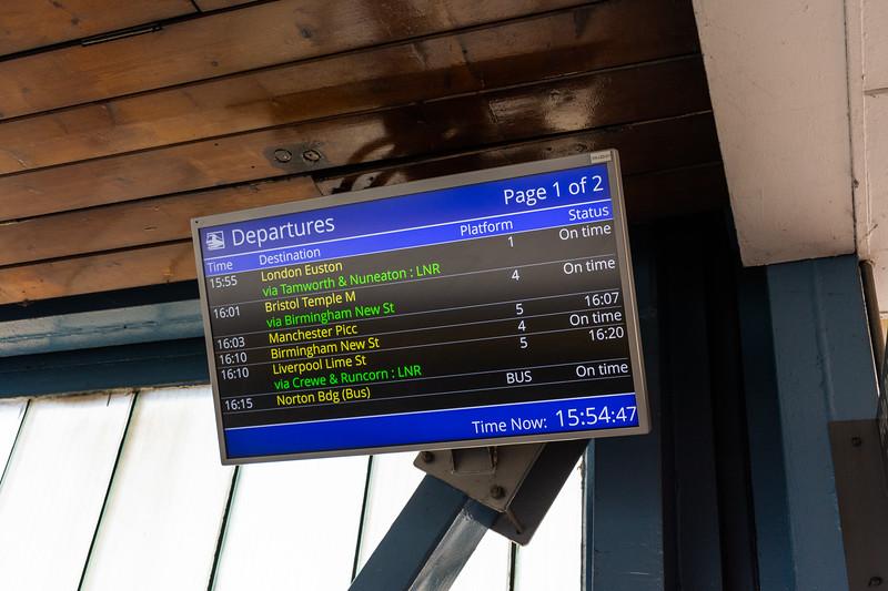 Norton Bridge - Station Departures Screen