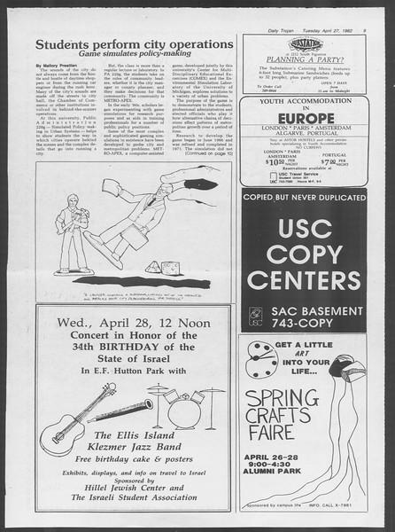 Daily Trojan, Vol. 91, No. 67, April 27, 1982