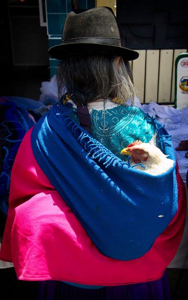 Taking a chicken home.