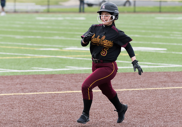 04/29/19 Wesley Bunnell | Staff New Britain softball defeated Conard at Chesley Park on Monday afternoon. Amanda Jacobs (5) runs safely into third base.