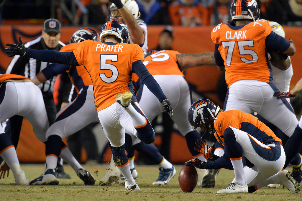 . Denver Broncos kicker Matt Prater (5) kicks a field goal during the first quarter. The Denver Broncos vs. the San Diego Chargers at Sports Authority Field at Mile High in Denver on December 12, 2013. (Photo by John Leyba/The Denver Post)