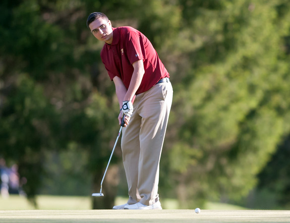 05/10/18 Wesley Bunnell   Staff New Britain golf defeated Bristol Eastern 212-219 at Stanley Golf Course on Thursday afternoon. New Britain's Arthur Bell putts on the 9th hole.