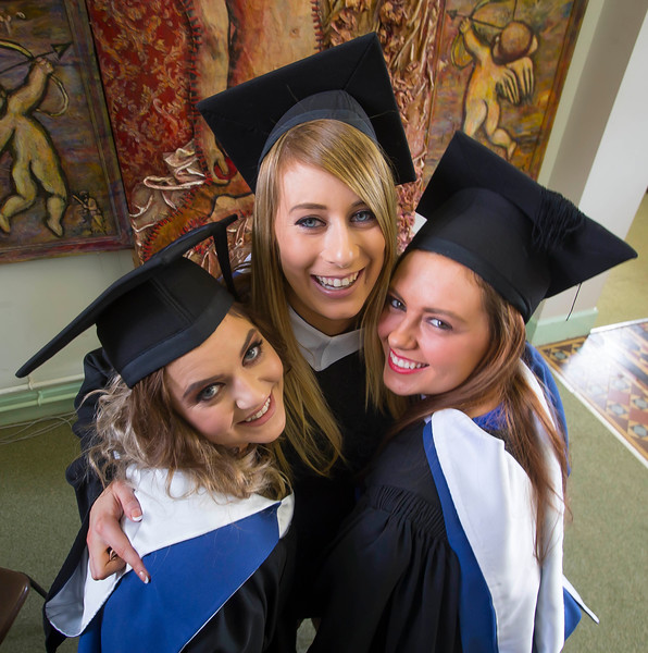 28/10/2015. FREE TO USE IMAGE. WIT (Waterford Institute of Technology) conferring ceremony at WIT College Street Campus, Waterford. Pictured are Frances Murphy, Tramore, Co. Waterford, Niamh Murphy, Cork and (another) Niamh Murphy from Cork  who graduated BA in Social Care. Picture: Patrick Browne