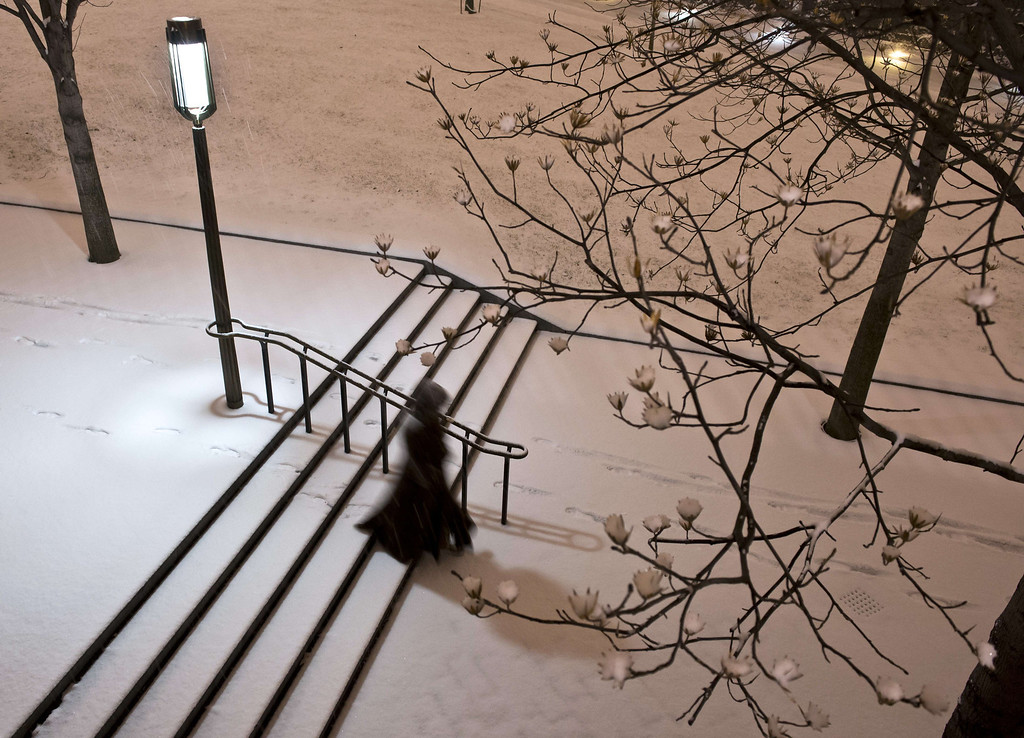 . A woman walks down the stairs near the US Congress building as a heavy snow storm hits Washington D.C. on February 13, 2014. The eastern US, in the grips of one of the most brutal winters in recent memory, braced for what forecasters warned could be the worst broadside yet -- a massive storm with the season\'s heaviest snowfall. AFP PHOTO / MLADEN ANTONOV/AFP/Getty Images