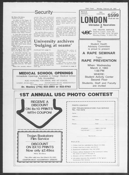 Daily Trojan, Vol. 93, No. 32, February 28, 1983