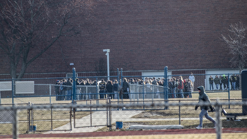 Students at Trenton High School gathered near the football field and railled against gun violence. School officials forbade the media from being on school property to cover the event. Kirsten Nordstrom – For The News-Herald