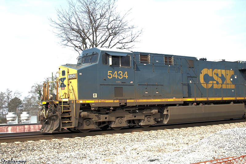 CSX's GE ES40DC # 5434 leads a double-headed container train past theTouch a Truck exhibition atKennesaw, GA,   03/10/2018 This work is licensed under a Creative Commons Attribution- NonCommercial 4.0 International License