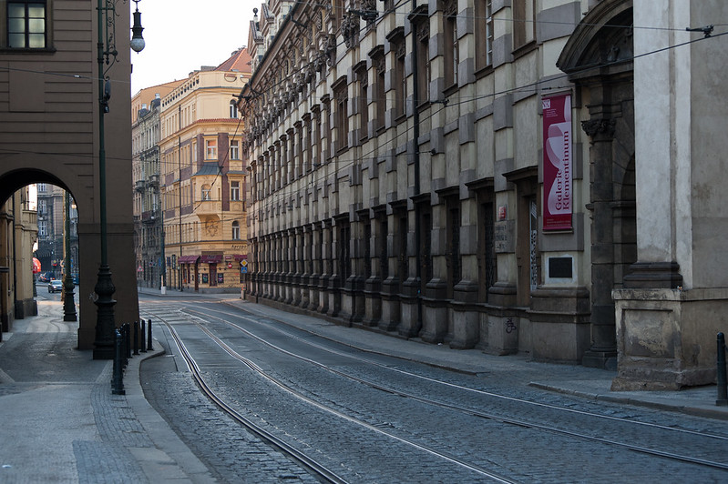 Empty street in Prague, Czech Republic
