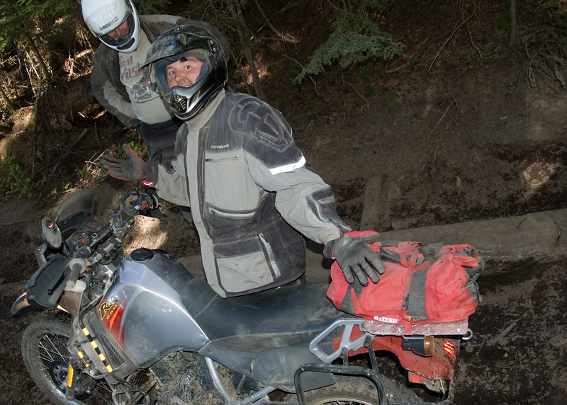 Scott after pulling his KLR out of the hole he fell into along the trail.