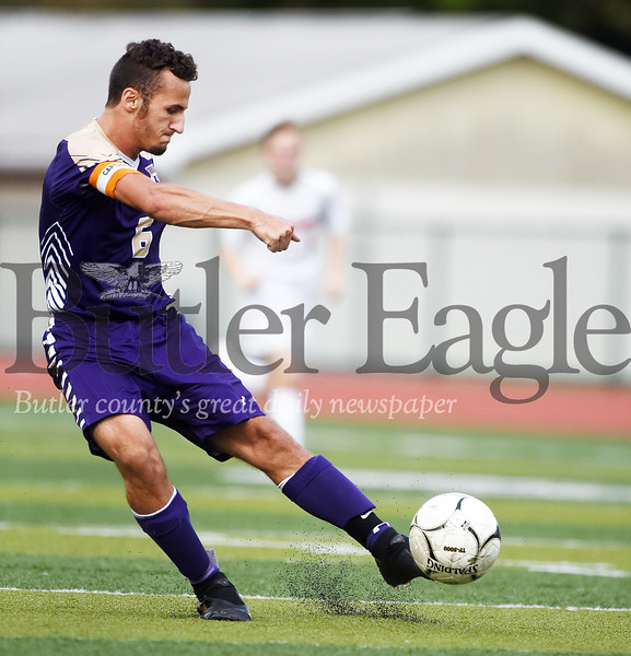 Harold Aughton/Butler Eagle: Sophmore Dakota King makes his second of three goals during Karns City's 6-3 victory over Armstrong.