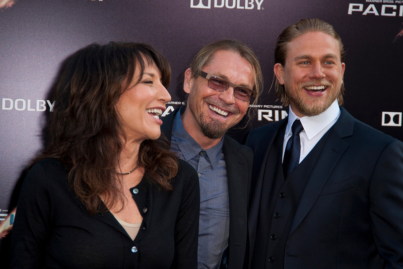 HOLLYWOOD, CA - JULY 09: Actress Katey Sagal, writer/producer Kurt Sutter and actor Charlie Hunnam arrive at the premiere of Warner Bros. Pictures' and Legendary Pictures' 'Pacific Rim' at Dolby Theatre on Tuesday, July 9, 2013 in Hollywood, California. (Photo by Tom Sorensen/Moovieboy Pictures)