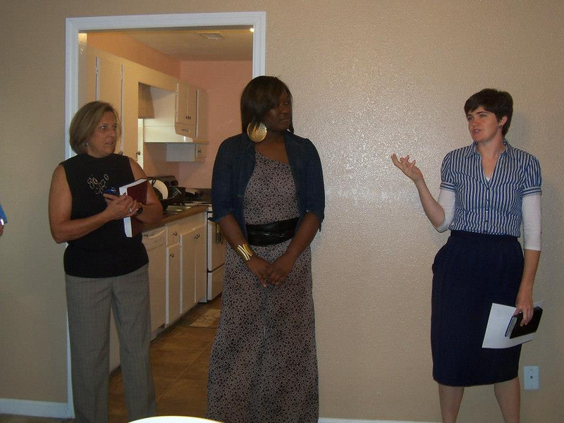 House 18 dedication with, from left, Kim Roberts, Latosha Todd and Lesley Lowe.