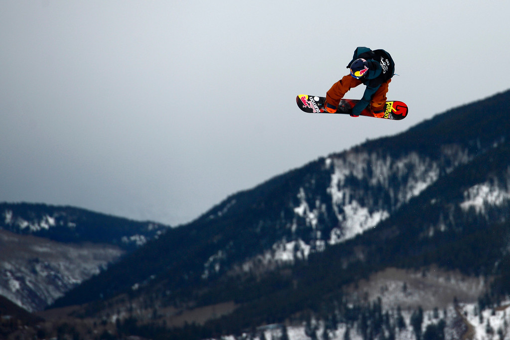 . ASPEN, CO. - JANUARY 24: Seppe Smits goes big during the men\'s Snowboard Slopestyle elimination. Men\'s Snowboard Slopestyle elimination X Games Aspen Buttermilk Mountain Aspen January 24, 2013. (Photo By AAron Ontiveroz / The Denver Post)