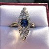 2.93ct Antique Diamond and Sapphire Navette Dinner Ring 6