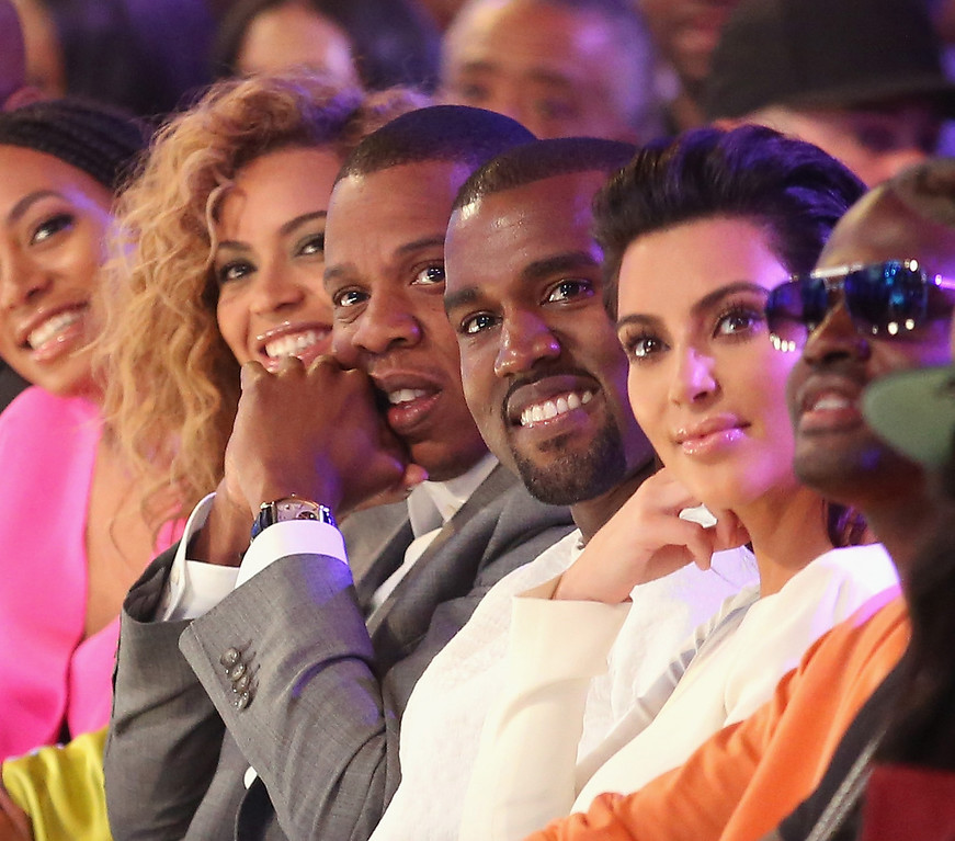 . LOS ANGELES, CA - JULY 01:  (L-R) Singer Beyonce, rappers Jay-Z and Kanye West and television personality Kim Kardashian attend the 2012 BET Awards at The Shrine Auditorium on July 1, 2012 in Los Angeles, California.  (Photo by Christopher Polk/Getty Images For BET)