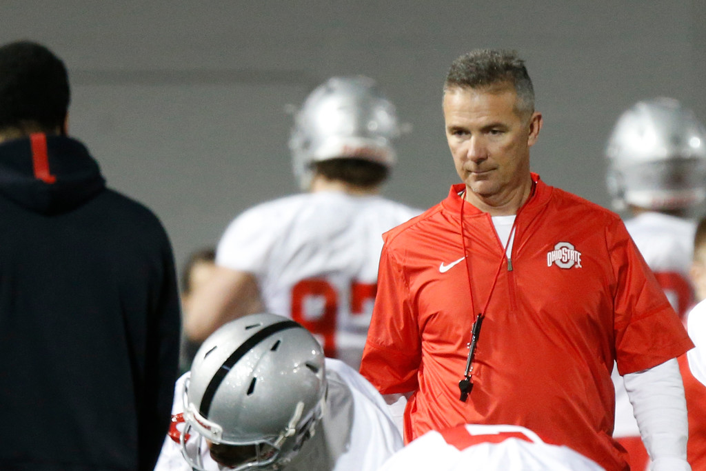 . Ohio State head coach Urban Meyer watches his team during spring NCAA college football practice Tuesday, March 7, 2017, in Columbus, Ohio. (AP Photo/Jay LaPrete)