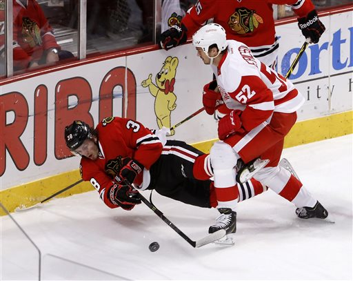 . Detroit Red Wings defenseman Jonathan Ericsson (52) checks Chicago Blackhawks right wing Ryan Hartman during the first period of an NHL hockey game Wednesday, Feb. 18, 2015, in Chicago. (AP Photo/Charles Rex Arbogast)