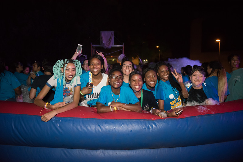 Students gather for a photograph during CAB's annual Foam Party event.