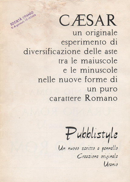 This prospectus by Urania Foundry shows two imitations of famous Nebiolo types, Nova Augustea and Slogan. 1960s.