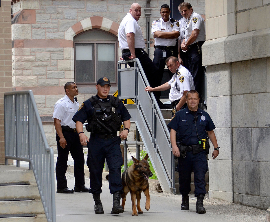 . Extraordinary security was in place for the pretrial hearing related to the triple murder case with Adam Lee Hall,  David Chalue and Caius Veious. Wed May 22, 2013 (GARVER)