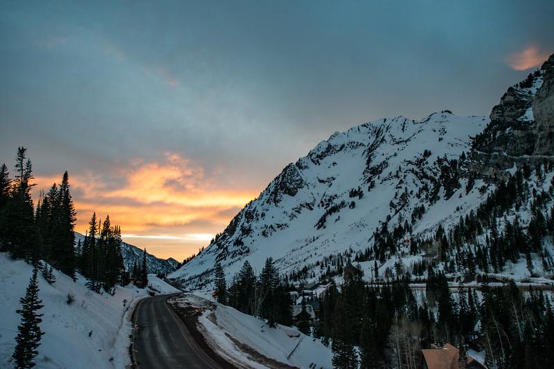 Beautiful sunset at Alta one night. Didn't last long