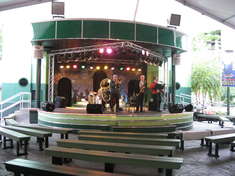 An Oktoberfest band on the Midway Stage.