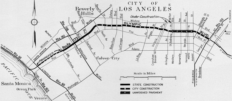 Sketch map showing progressive construction of Olympic Boulevard through Los Angeles to the Coast Highway at Santa Monica