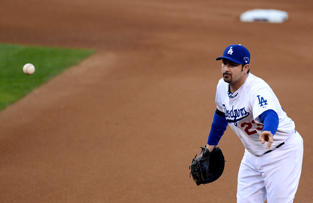 . Dodger Adrian Gonzalez throws to 1st during game 3 of the NLCS at Dodger Stadium Monday, October 14, 2013. The Dodgers beat the Cardinals 3-0. (Photo by Sarah Reingewirtz/Los Angeles Daily News)