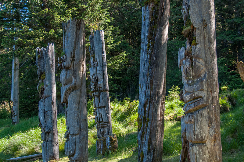 Historic Haida Mortuary Totem Poles at Ninstints