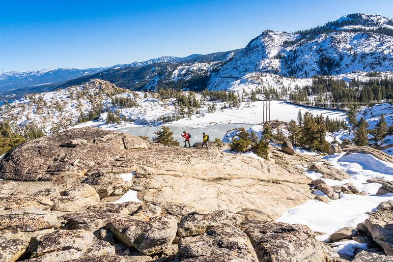 Two Hikers Above Lake Angela