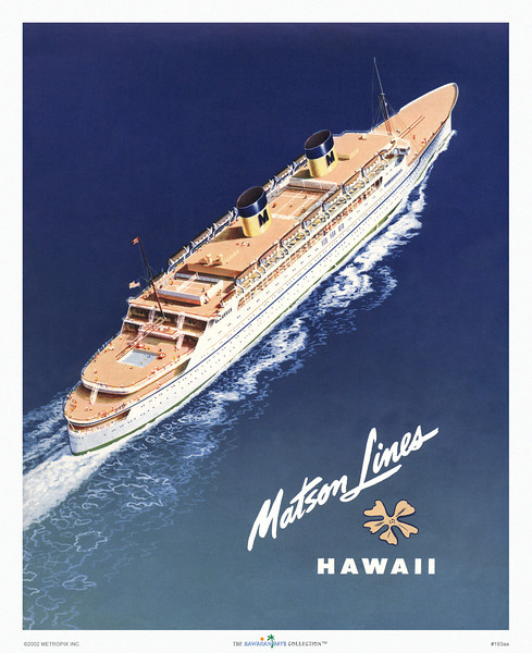 193: 'Hawaii' Travel Brochure with ss. Lurline. Ca 1950.