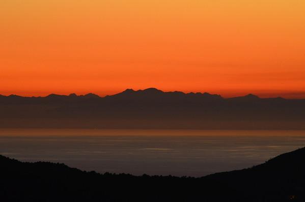 Sunsets over Framura, Liguria, Italy