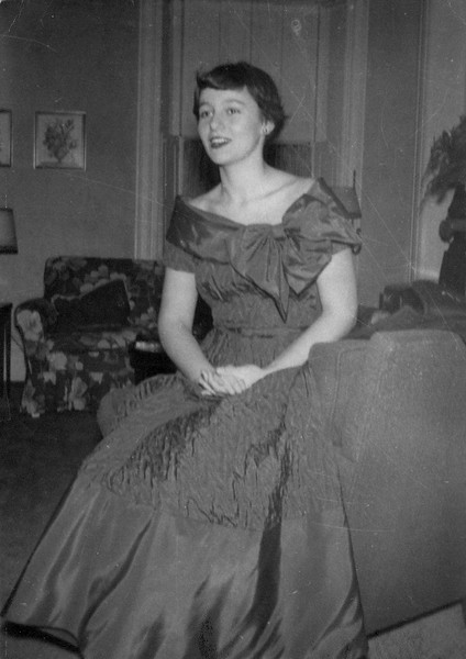 Joan Lacey in formal dress.