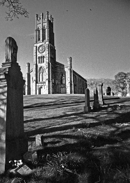 Lennoxtown Parish Church. March 1975  This was gutted by fire in 1983 and is still a shell, with the upper part of the tower gone.