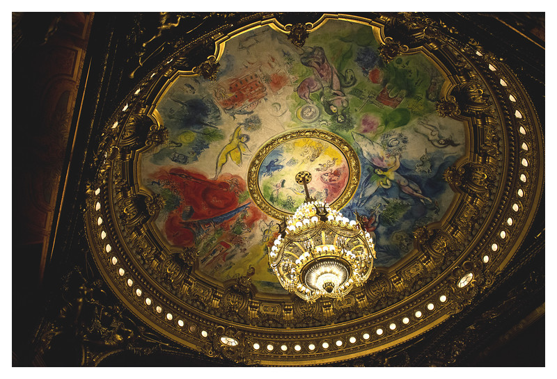 "Love the ceiling of the Opera's auditorium.  It was painted by Marc Chagall and it is fun to think of the chandelier falling in ""Phantom of the Opera""."