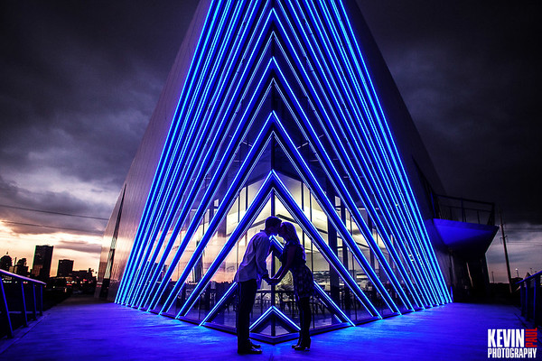 This engagement session photo was captured at the Devon Boathouse right at sunset.