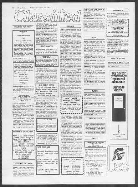 Daily Trojan, Vol. 92, No. 48, November 12, 1982