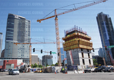 Pictured is the under construction expansion of Lincoln Square as seen from Bellevue Way in Bellevue, Washingto