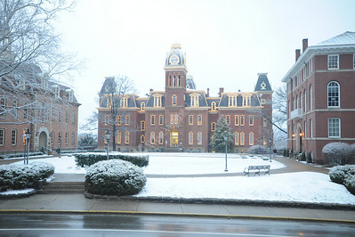 25797 Woodburn winter with lights early morning