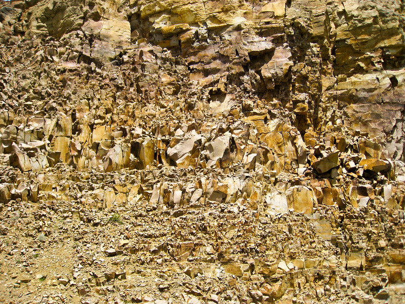 Loose stone canyon wall