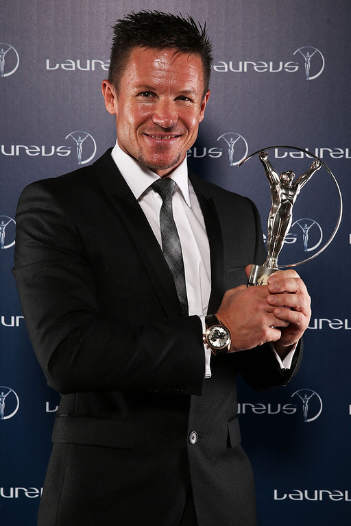 . Sky Diver Felix Baumgartner poses with the award for Laureus World Action Sportsperson of the Year in the winners studio during the 2013 Laureus World Sports Awards at Theatro Municipal do Rio de Janeiro on March 11, 2013 in Rio de Janeiro, Brazil.  (Photo by Ian Walton/Getty Images For Laureus)
