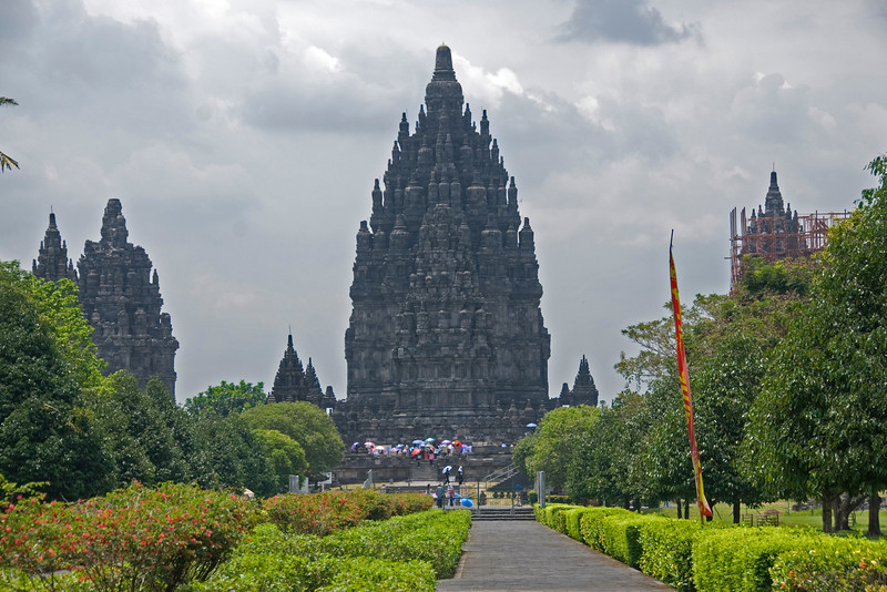 Prambanan Walkway with a breathtaking view of ancient architecture