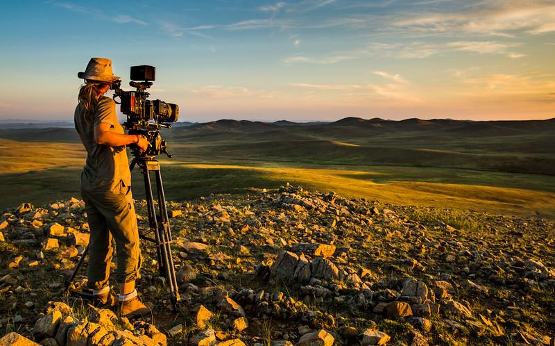 Camera operator Sue Gibson, Steppe grasslands, Altanbulag, Mongolia