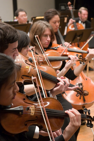 Violins (Kathie Lin, Andrew Wisneski, Samira Saliba Phillips, Laurie White)-- Hopkins Symphony Orchestra, March 2008