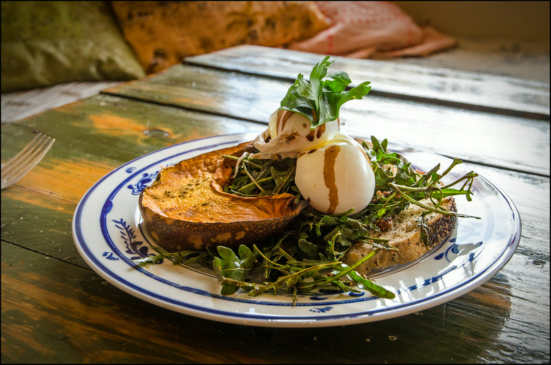 'Mr Billy - Poached eggs on sourdough, cumin roasted pumpkin, goats cheese, fresh rocket and herbs with a citrus, balsamic and walnut glaze...!