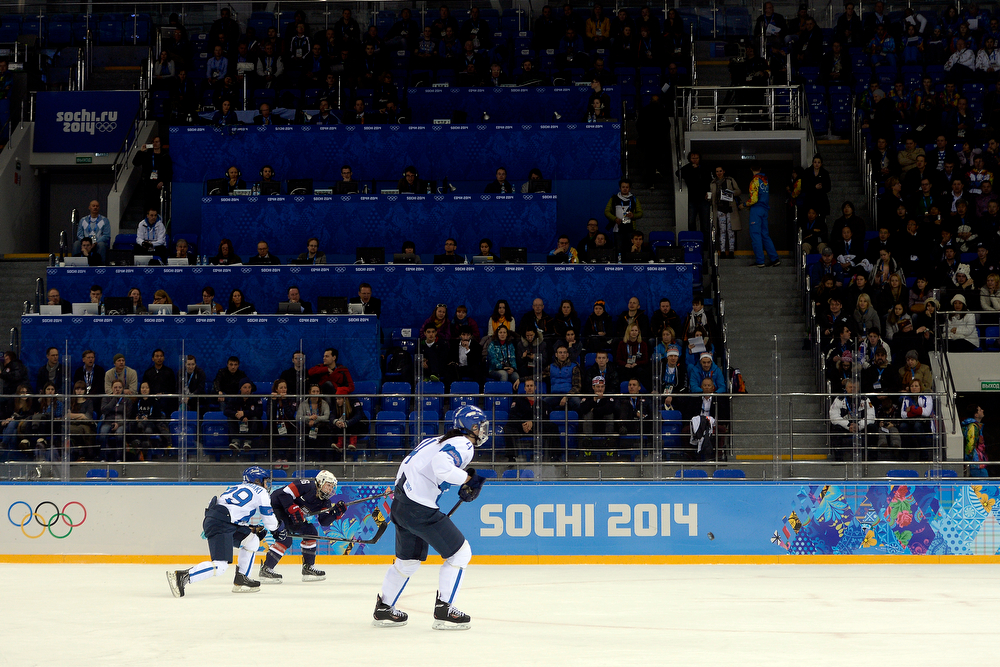 . The United States plays Finland in front of 4,000-plus spectators during the third period of the United States\' 3-1 win against Finland. Sochi 2014 Winter Olympics on Saturday, February 8, 2014. (Photo by AAron Ontiveroz/The Denver Post)